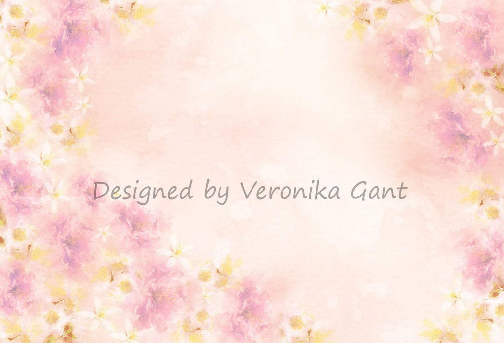 Katebackdrop:Kate Fine Art Watercolors Pink Flowers Abstract Backdrop designed by Veronika Gant