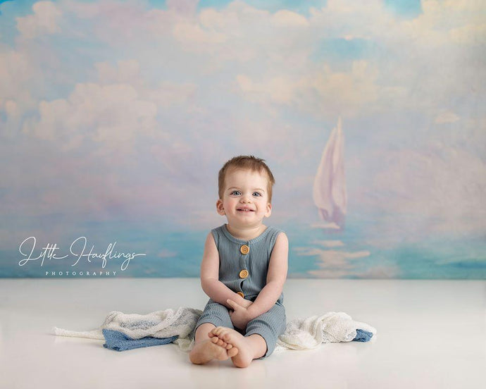 Katebackdrop:Kate Summer Sea painting Sailboat Backdrop for Photography Designed By Jerry_Sina