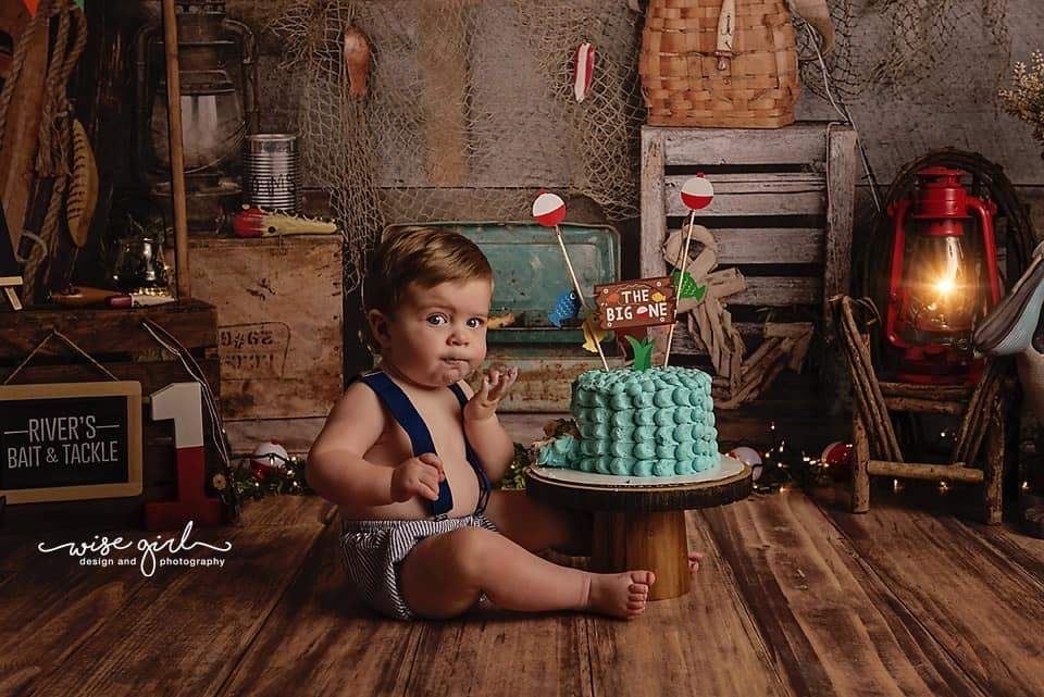 Load image into Gallery viewer, Kate Go Fishing Children Backdrop for Photography Designed By Arica Kirby