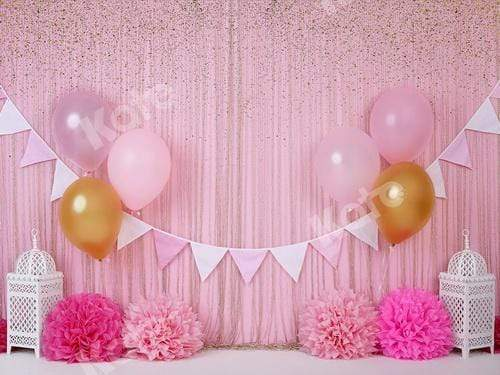 Katebackdrop£ºKate Pink and Gold Birthday Glitter Backdrop for Photography