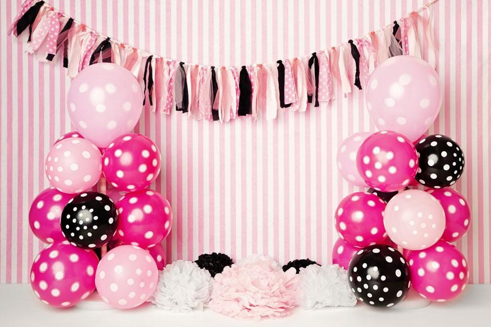 Load image into Gallery viewer, Kate Black Pink Balloons with Strips for Children Backdrop for Photography Designed by Kerry Anderson