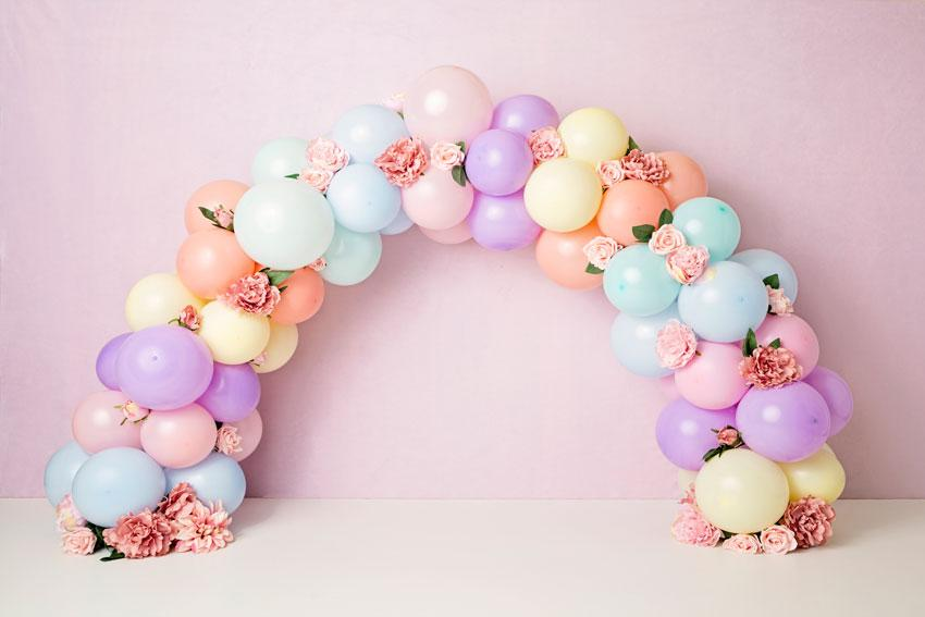 Load image into Gallery viewer, Kate Balloons Rainbow with Flowers for Children Backdrop for Photography Designed by Kerry Anderson