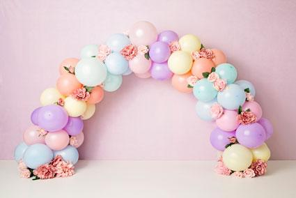 Kate Balloons Rainbow with Flowers for Children Backdrop for Photography Designed by Kerry Anderson