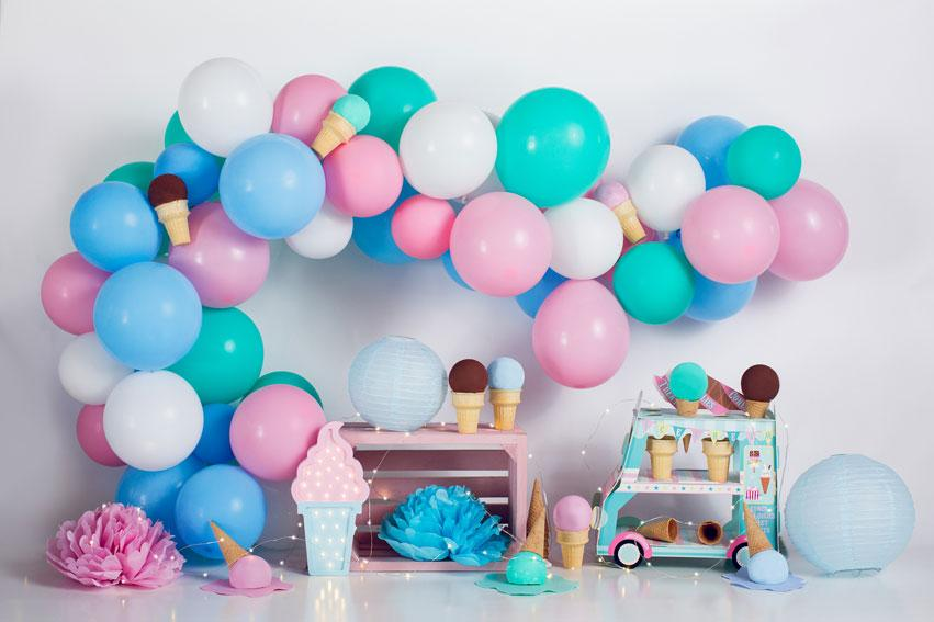 Load image into Gallery viewer, Kate Ice Cream with Balloons Children Backdrop for Photography Designed by Megan Leigh Photography