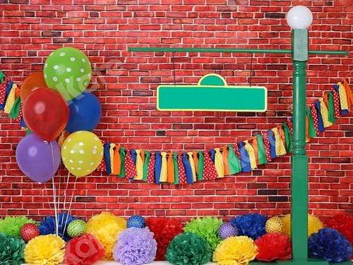 Katebackdrop£ºKate Brick Wall with Colorful Balloons Backdrop for Photography