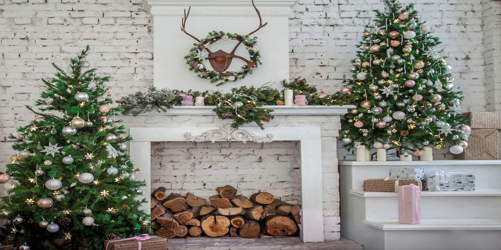 Load image into Gallery viewer, Kate Christmas Tree with Fireplace White Brick Wall Warmful Backdrop for Photography