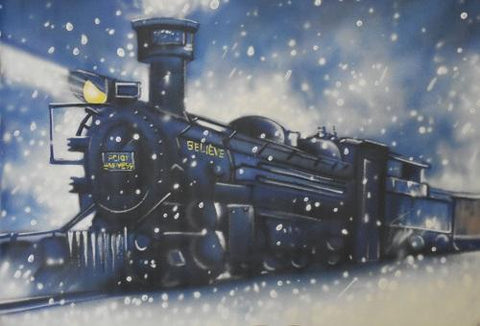 Kate Polar Express Christmas Train Vintage Painted Backdrop Designed By Jerry_Sina