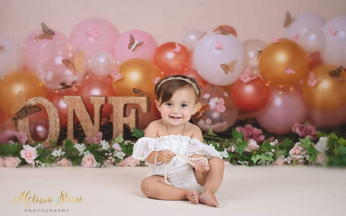 Katebackdrop:Kate Birthday Cake Smash Balloon with Butterfly Backdrop for Photography Designed by Cassie Christiansen Photography