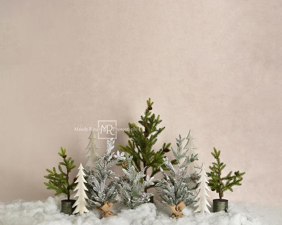 Load image into Gallery viewer, Kate Pine Trees in Snow Christmas Backdrop for Photography Designed By Mandy Ringe Photography