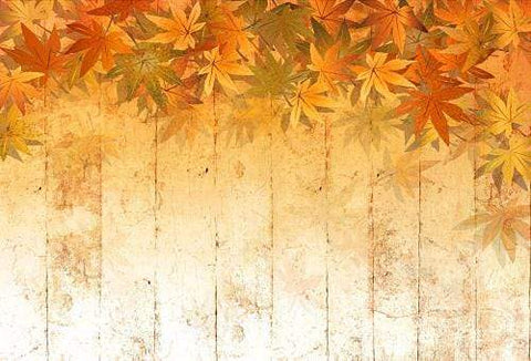 Kate Fall Retro Maple Leaves Damaged Wood Backdrops for Photography