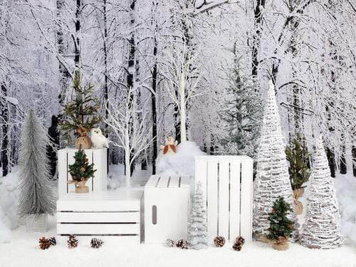 Katebackdrop:Kate Christmas Snowy Pine Trees with Decorations Backdrop