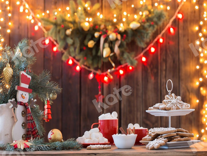 Kate Christmas Cookies Wood Hot Cocoa Backdrop for Photography