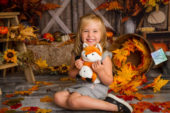 Kate Autumn Leaves with Pumpkins Thanksgiving Backdrop