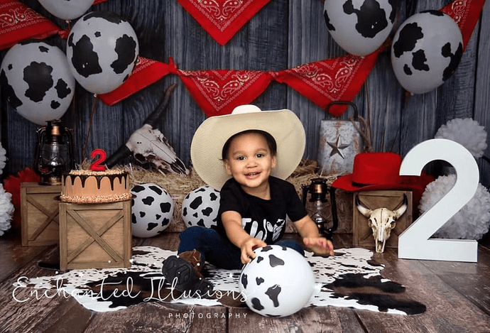 Kate Autumn Cowboy Red Decorations Backdrop for Photography