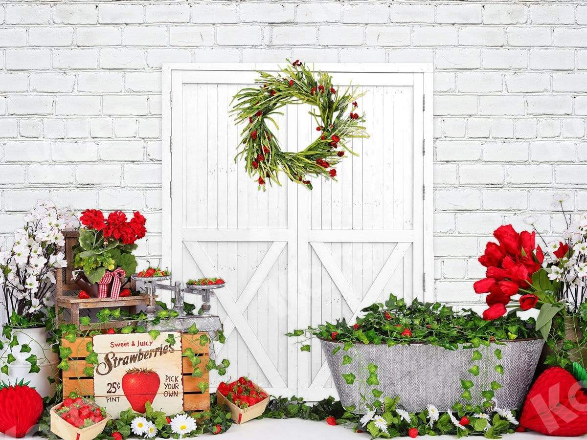 Load image into Gallery viewer, Katebackdrop:Kate Strawberry Cake Smash White Barn Door Summer Backdrop for Children