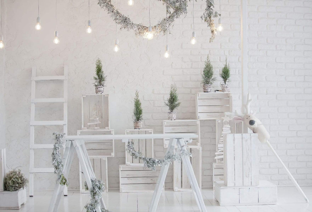 Kate Christmas White Room with Potted Plant Decorations Backdrop