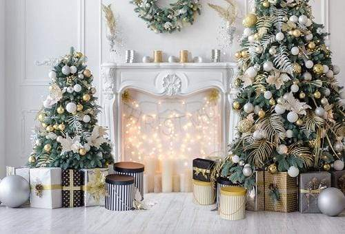 Katebackdrop£ºKate Christmas White Room Pinetrees Gifts Decoration Backdrop for Photography