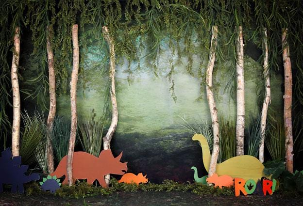 Load image into Gallery viewer, Kate Rainforest Trunk Wonderland with Dinosaur Backdrop