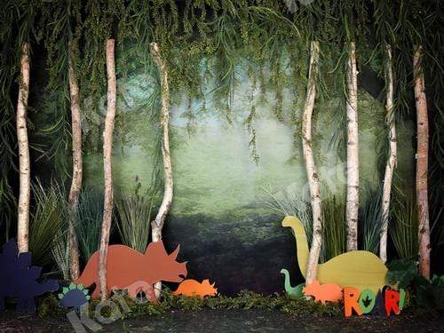 Load image into Gallery viewer, Katebackdrop£ºKate Rainforest Trunk Wonderland with Dinosaur Backdrop