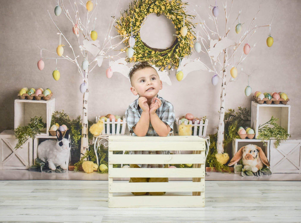 Katebackdrop:Kate Easter Egg Trees and Bunnies Backdrop Designed By Mandy Ringe Photography