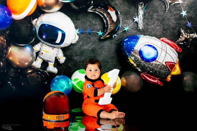 Kate Space Rocket Astronaut Balloon Party Children Backdrop Designed by Kerry Anderson