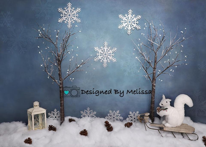 Kate Christmas Winter Blues Backdrop Designed by Melissa King