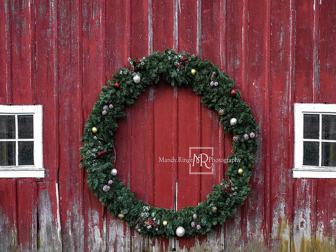 Kate Christmas Wreaths Wood Wall Red Backdrop Designed by Mandy Ringe Photography
