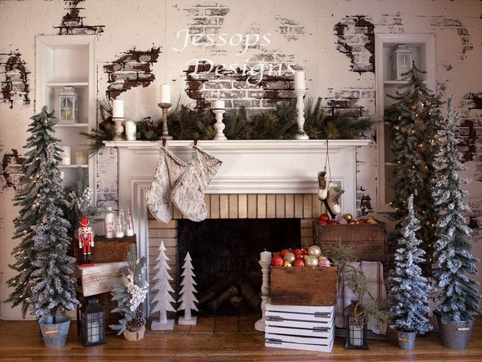 Kate Christmas Cozy Fireplace Backdrop Designed by Keerstan Jessop