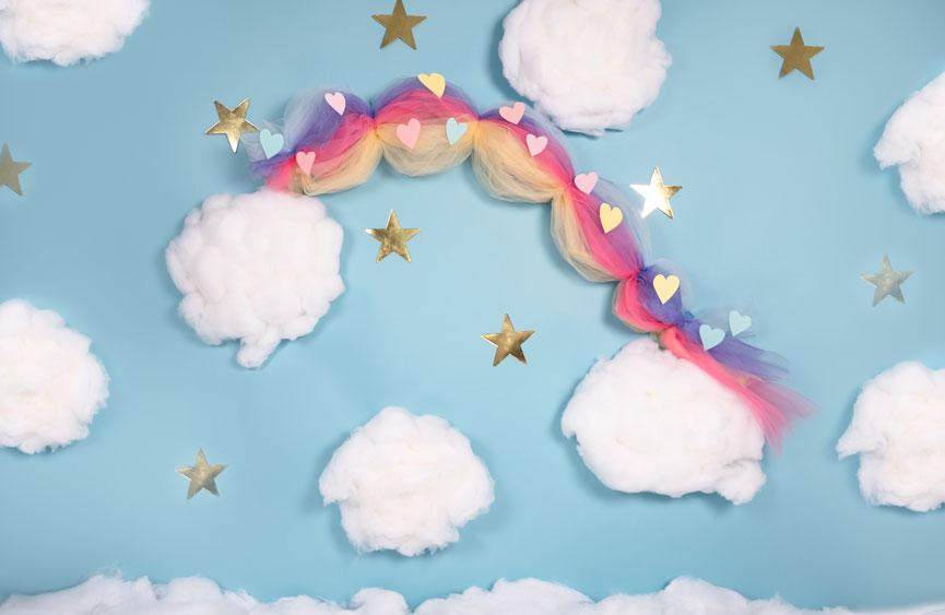Load image into Gallery viewer, Kate Cake Smash Rainbow Clouds Blue Backdrop Designed By Angela Marie Photography