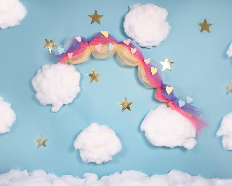 Kate Cake Smash Rainbow Clouds Blue Backdrop Designed By Angela Marie Photography