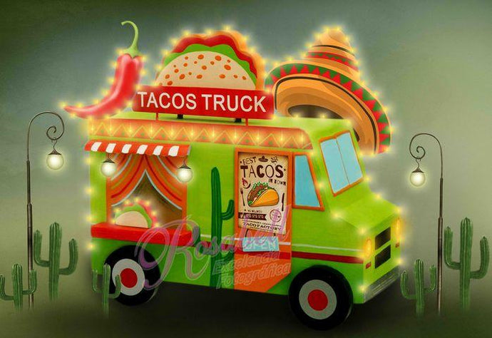 Kate Cake Smash Tacos Truck Chef Backdrop Designed by Rosabell Photography