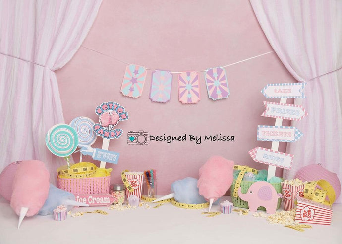 Kate Pink Birthday Carnival Backdrop Designed by Melissa King