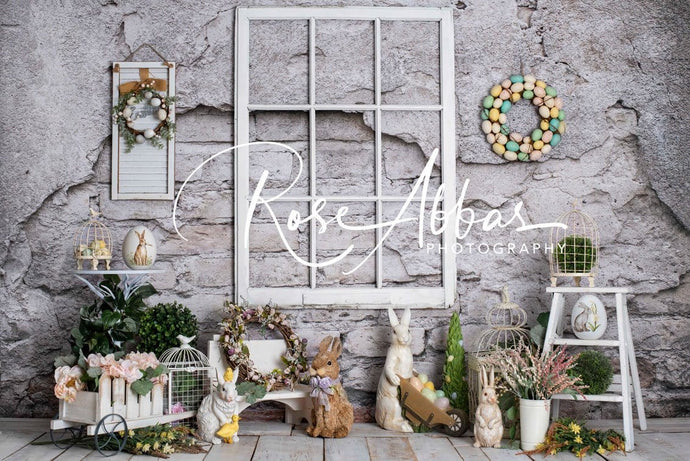 Kate Spring Easter Bunny Gray Wall Backdrop Designed by Rose Abbas