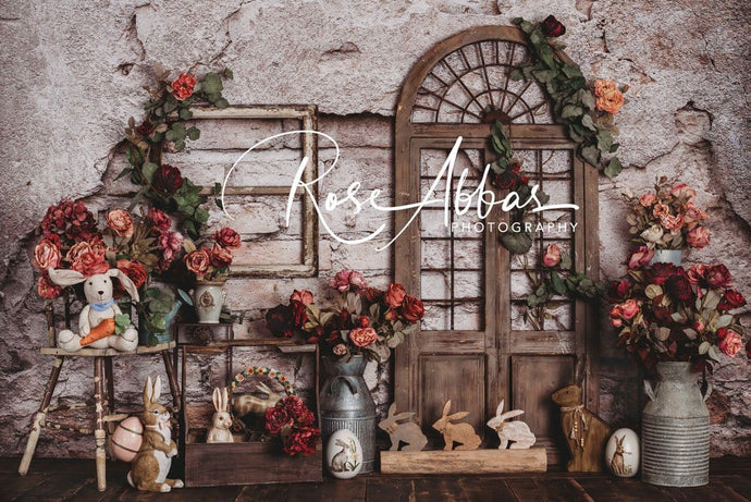 Kate Spring Easter Bunny Red Flowers Backdrop Designed by Rose Abbas