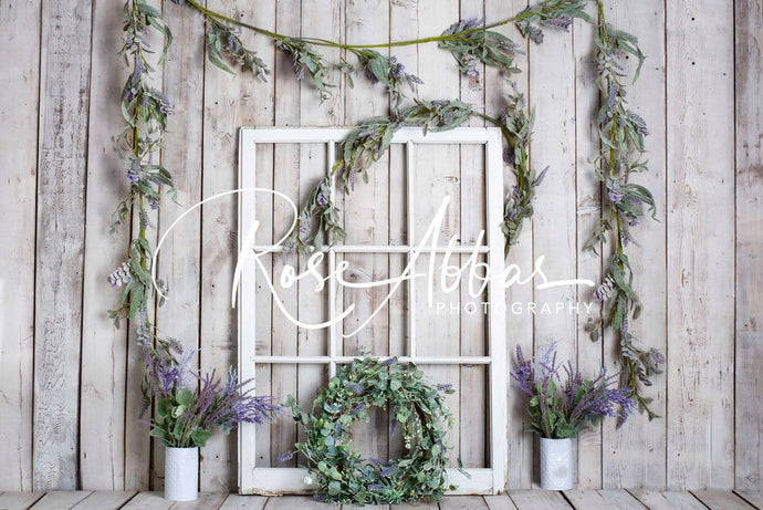 Kate Spring White Window Vine Wood Backdrop Designed by Rose Abbas