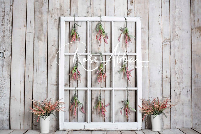Kate Spring Floral White Window Wood Backdrop Designed by Rose Abbas