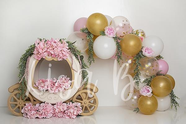 Kate Cake Smash Floral Balloon Carriage Backdrop Designed by Lisa B