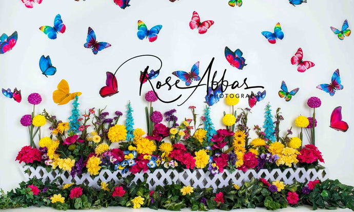 Kate Summer Butterfly Garden Cake Smash Backdrop Designed by Rose Abbas