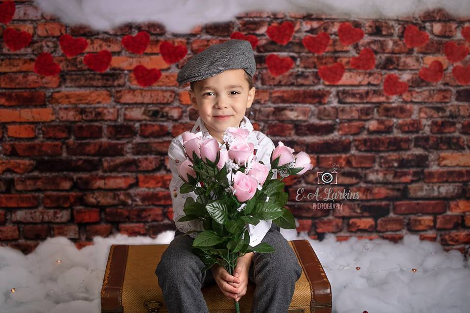 Katebackdrop:Kate Dark Brick with Red Hearts Valentine's Day Backdrop for Photography designed by Jerry_Sina