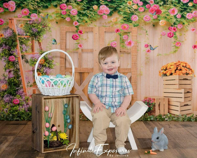 Katebackdrop£ºKate Spring Flower Garden Wood Door Backdrop Designed By Ava Lee
