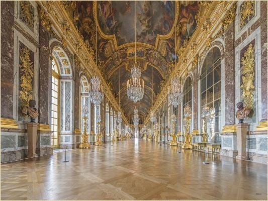 Katebackdrop:Kate Hall of Mirrors and front of the Palace at Versailles backdrop wedding