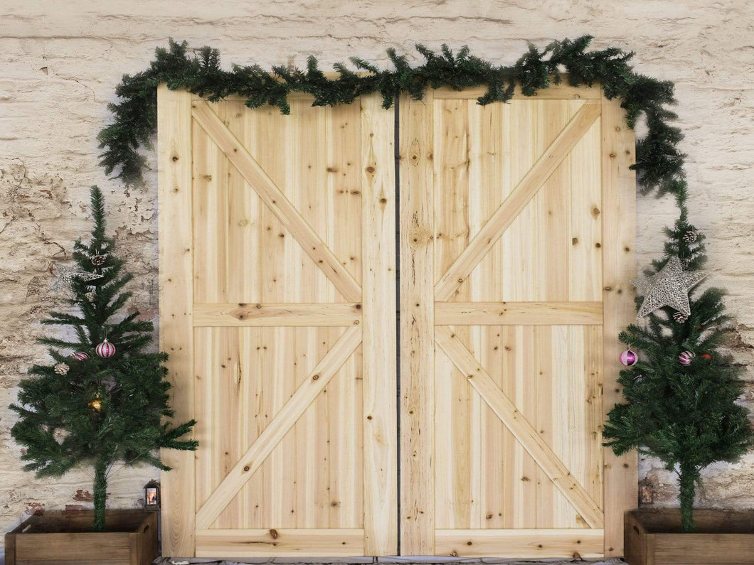 Katebackdrop:Kate Christmas Barn Door Pinetrees Decorations Backdrop Designed By Jerry_Sina
