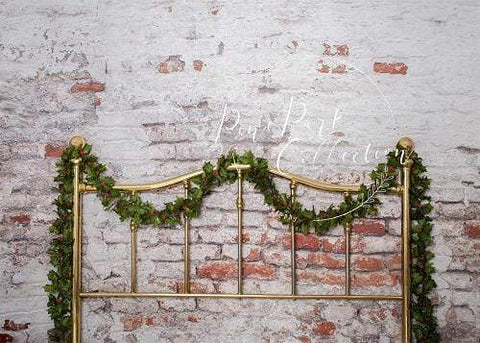 Kate Half Brass Bed with Ivy Headboard Brick Wall Backdrop Designed by Pine Park Collection