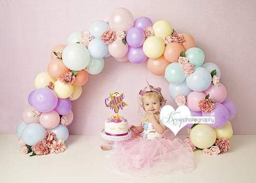 Katebackdrop£ºKate Balloons Rainbow with Flowers for Children Backdrop for Photography Designed by Kerry Anderson