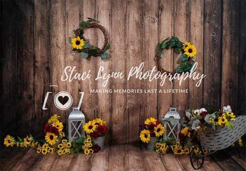 Katebackdrop:Kate Sunflowers Wreath Lanterns Wooden Backdrop for Photography Designed By Stacilynnphotography