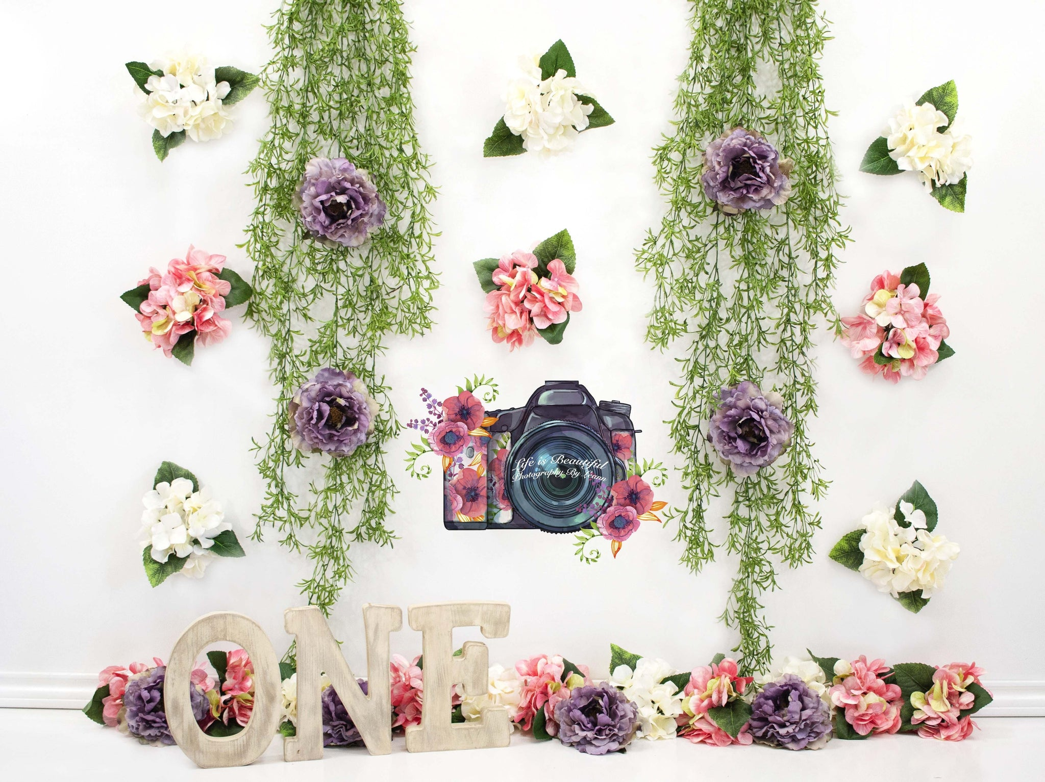 Load image into Gallery viewer, Katebackdrop£ºKate 1st Birthday Flower Grass Decoration Backdrop for Photography Designed By Leann West