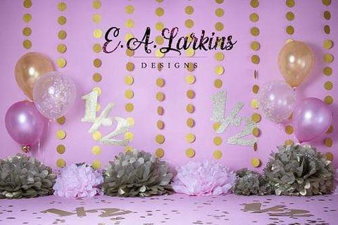 Kate Birthday Pink with Balloons Backdrop for Photography Designed By Erin Larkins