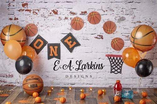 Katebackdrop£ºKate 1st Birthday Basketball Backdrop for Photography Designed By Erin Larkins