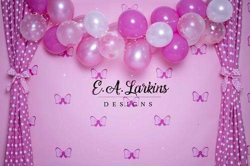 Kate Pink Bows with Balloons Backdrop for Photography Designed By Erin Larkins