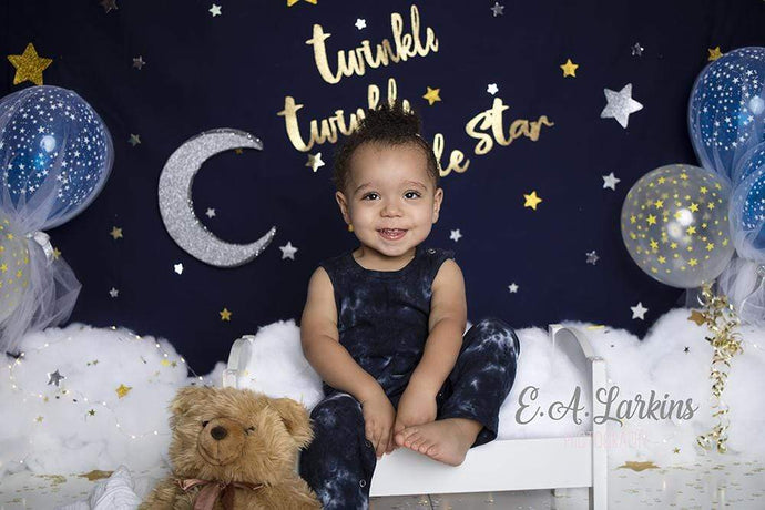 Kate  Twinkle Stars with Balloons Backdrop for Photography Designed By Erin Larkins
